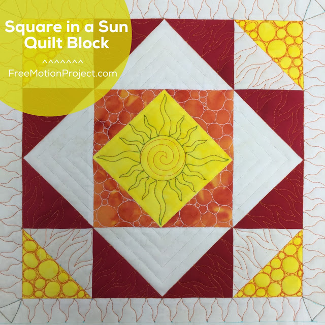 image about Free Printable Machine Quilting Designs named How in the direction of Quilt a Sq. within just a Solar Block - Free of charge Movement Quilting