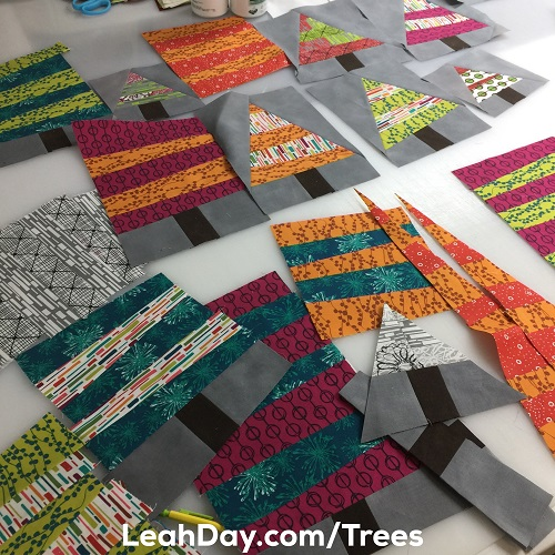 Wonky Christmas Tree Quilt Blocks - Free Motion Quilting Project