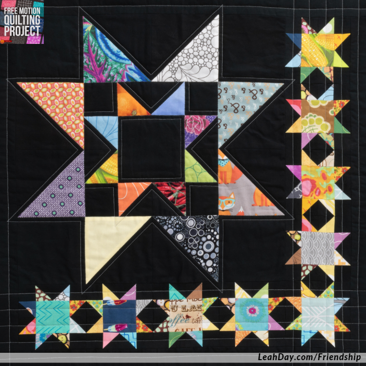 Learn how to quilt a Scrappy Star quilt block with straight lines